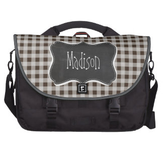Retro Chalkboard Bistre Brown Gingham; Checkered Commuter Bags