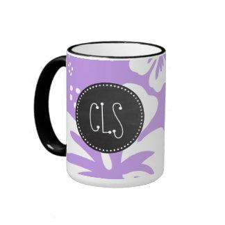 Retro Chalkboard Bright Lavender Tropical Hibiscus Ringer Mug