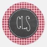 Retro Chalkboard; Carmine Red Gingham; Chequered Round Sticker