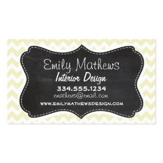 Retro Chalkboard; Cream Chevron; zig zag Pack Of Standard Business Cards