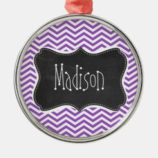 Retro Chalkboard; Deep Lilac Chevron Christmas Ornament