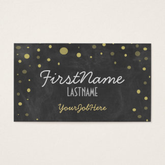 Retro Chalkboard Gold Polka Dots Business Card