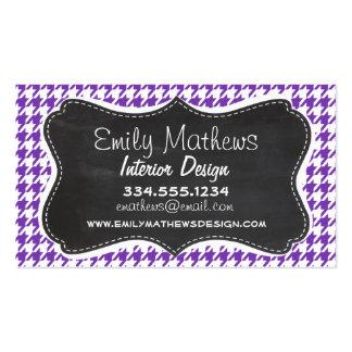 Retro Chalkboard look; Grape Purple Houndstooth Business Cards