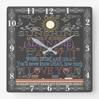 Retro Chalkboard You Are My Sunshine Clock
