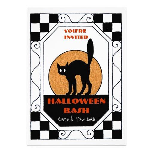 Retro Check Border Black Cat Moon Halloween Party Invite