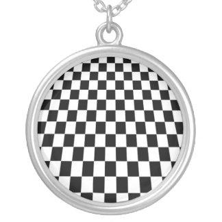 Retro checkerboard silver plated necklace