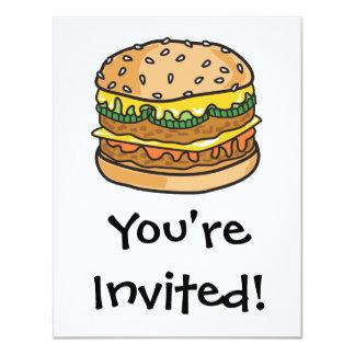 retro cheese hamburger 11 cm x 14 cm invitation card