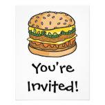 retro cheese hamburger personalized invitations