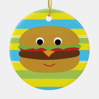 Retro Cheeseburger Round Ceramic Decoration