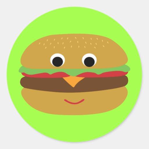 Retro Cheeseburger Round Sticker | Zazzle