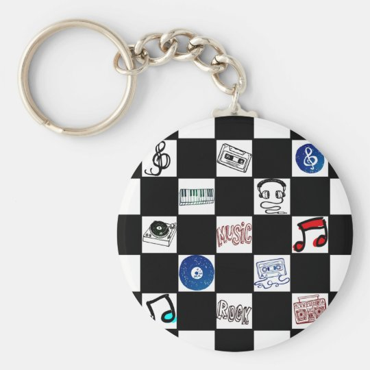 Retro Chequerboard Music Cassettes & More Basic Round Button Key Ring