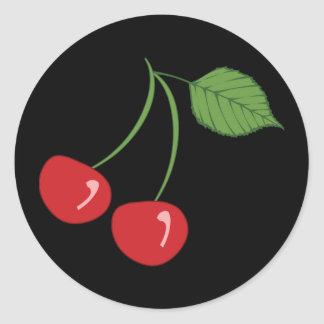 Retro Cherries Classic Round Sticker