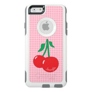 Retro Cherries Gingham Name iPhone 6/6S Case