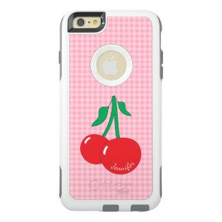 Retro Cherries Gingham Name iPhone 6 Plus Case