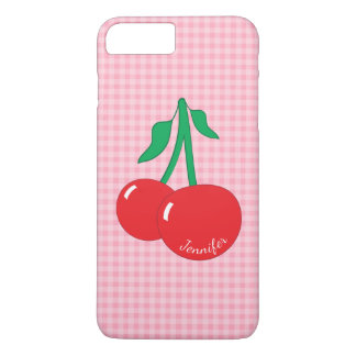 Retro Cherries Gingham Name iPhone 7 Plus Case