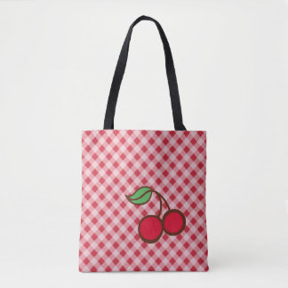 Retro Cherry Gingham Purse Beach Tote Bag Gift