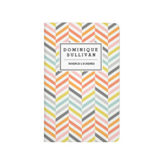 Retro Chevron Pattern Personalized Journal