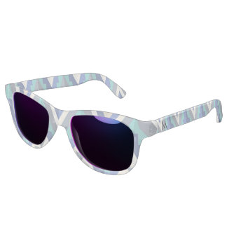 Retro Chevron Teal Blue Taupe White Monogrammed Sunglasses