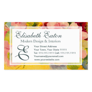 Retro Chic Elegant Pink Vintage Floral Primroses Double-Sided Standard Business Cards (Pack Of 100)