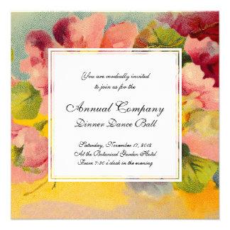 Retro Chic Elegant Pink Vintage Floral Primroses Invitations