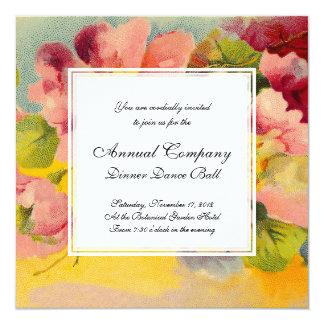 """Retro Chic Elegant Pink Vintage Floral Primroses 5.25"""" Square Invitation Card"""
