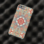 Retro Chic Red Teal Pretty Floral Mosaic Pattern