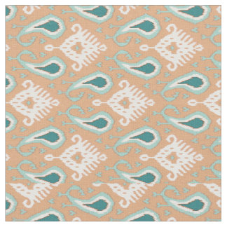 Retro Chic Teal Taupe Ethnic Ikat Tribal Pattern Fabric