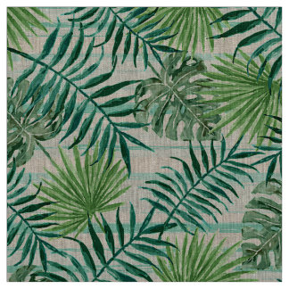 Retro Chic Tropical Green Palm Leaves Pattern Fabric