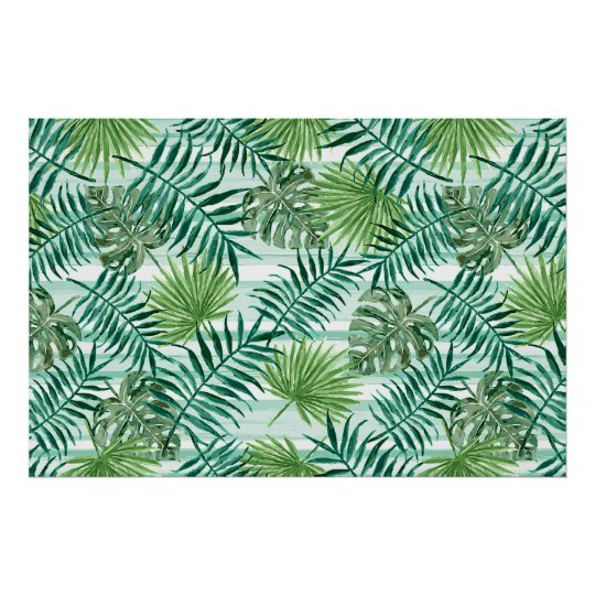 Retro Chic Tropical Green Palm Leaves Pattern Poster