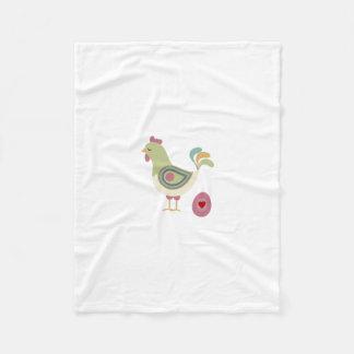 Retro Chicken and Egg Fleece Blanket