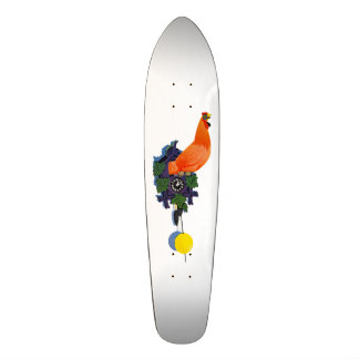 Retro Chicken Coo-Coo Clock Rooster Time Vintage Skateboard