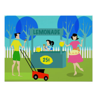 Retro Children's Lemonade Stand Poster