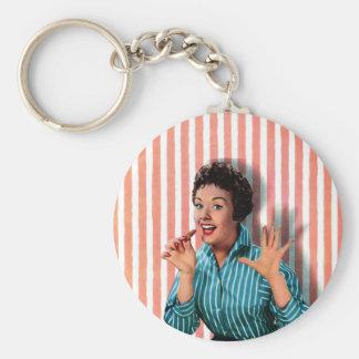 Retro Chocolate Lady Graphic Keychain