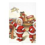 Retro Christmas art baby Santa's by fireplace cute Stationery Design