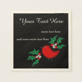 Retro Christmas Bird and Holly Disposable Serviettes