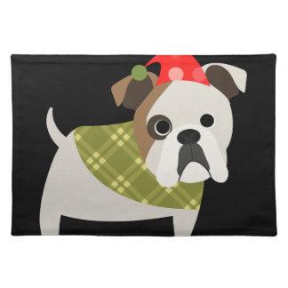 Retro Christmas Bulldog Placemat