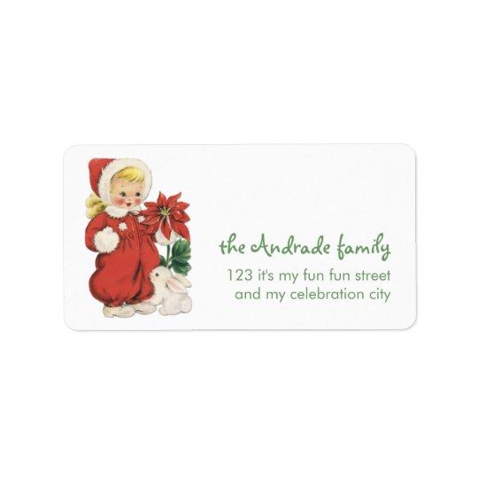 Retro Christmas Cute Blonde Girl Red Poinsettia Label