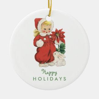 Retro Christmas Cute Girl Red Poinsettia Photo Round Ceramic Decoration