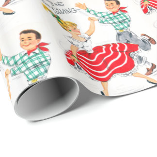 Retro Christmas dance couple party wrap Wrapping Paper