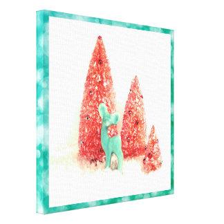 Retro Christmas Deer with Aqua Frame Canvas Print