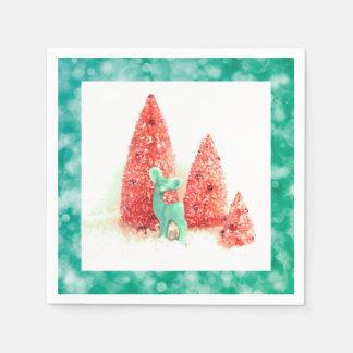Retro Christmas Deer with Aqua Frame Disposable Serviette