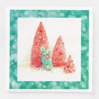 Retro Christmas Deer with Aqua Frame Paper Napkin