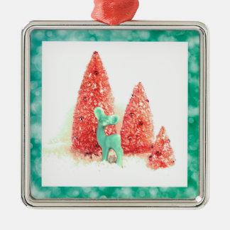 Retro Christmas Deer with Aqua Frame Silver-Colored Square Decoration