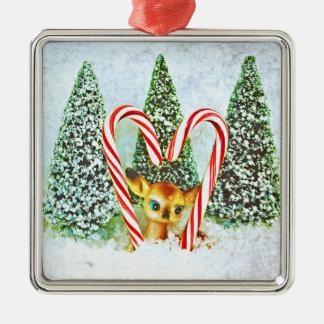 Retro Christmas Fawn Silver-Colored Square Decoration