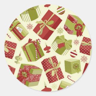 Retro Christmas Gift boxes Round Sticker
