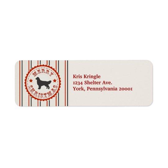 Retro Christmas Golden Retriever Return Address Label
