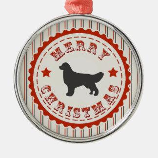 Retro Christmas Golden Retriever Silver-Colored Round Decoration