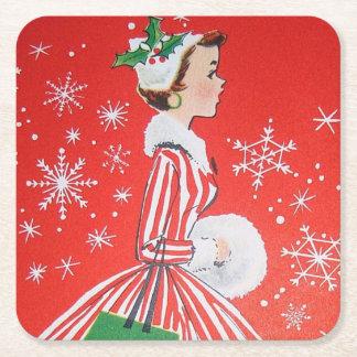 Retro Christmas Holiday lady party coaster