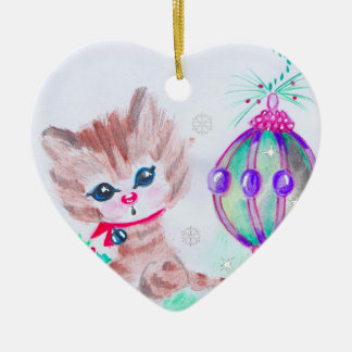 Retro Christmas Kitty Christmas Ornament