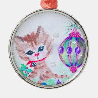 Retro Christmas Kitty Christmas Ornament